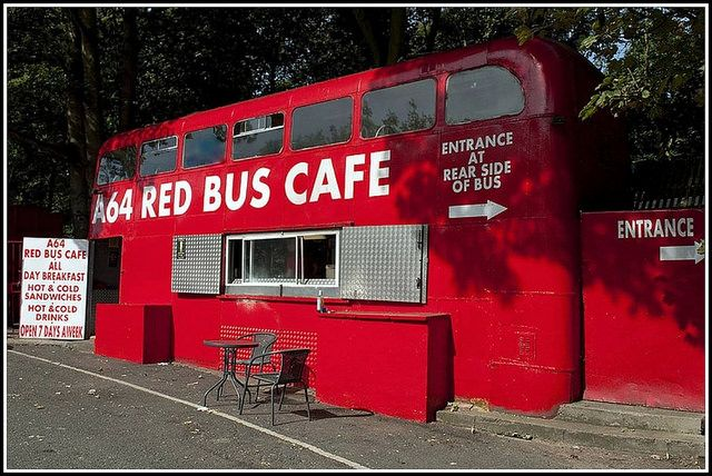 Red Bus Cafe, Leeds UK  An actual double-decker  bus repurposed into a cafe.