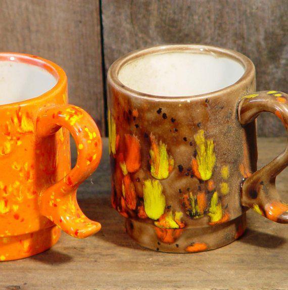 Yellow And Orange Kitchen: Brady Bunch Coffee Mugs Two Mugs Vintage Orange Yellow