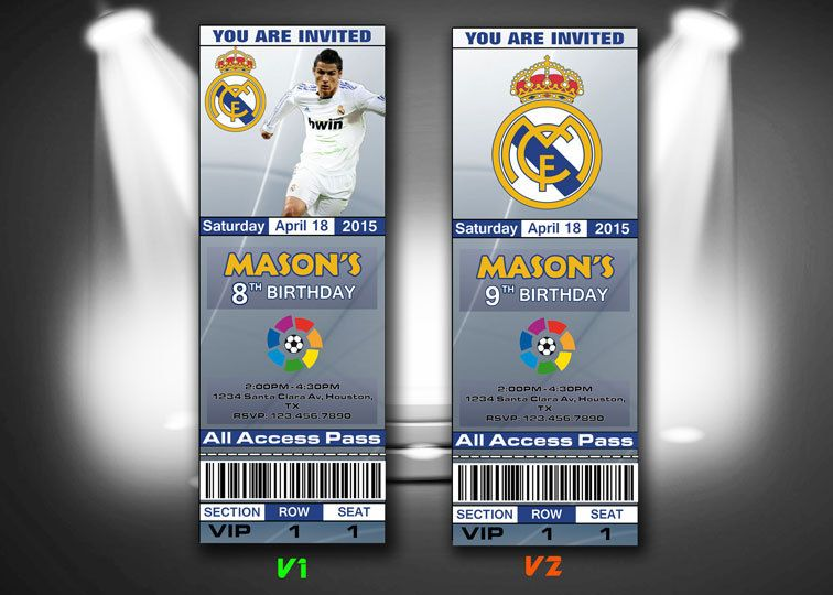 Real Madrid Invitation Real Madrid Invitations Soccer