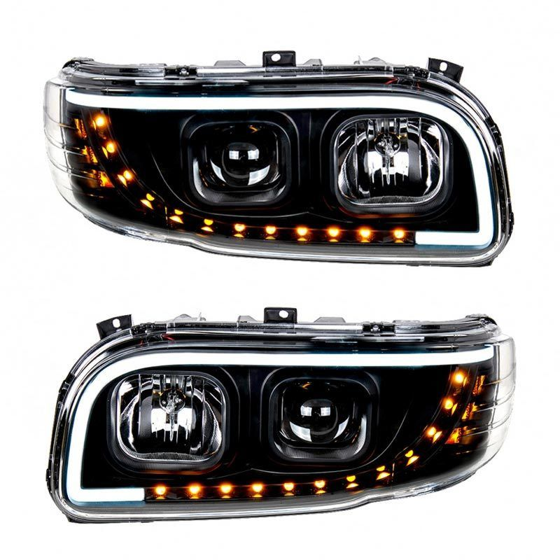 Peterbilt 388 389 367 567 Aftermarket Blackout Projection Headlight With Led Bar Peterbilt Headlights Custom Headlights