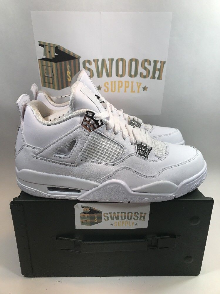 best sneakers 33c1d 8c948 NIKE AIR JORDAN 4 IV RETRO PURE MONEY WHITE METALLIC SILVER 308497-100 SIZE  9  Nike  AthleticSneakers