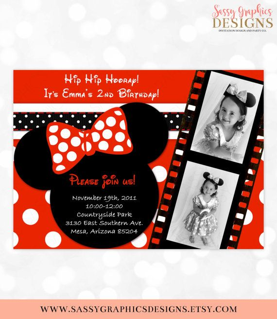 Minnie Mouse Birthday Invitation Invite 2nd Girl Black Red Polka Dot Item 3