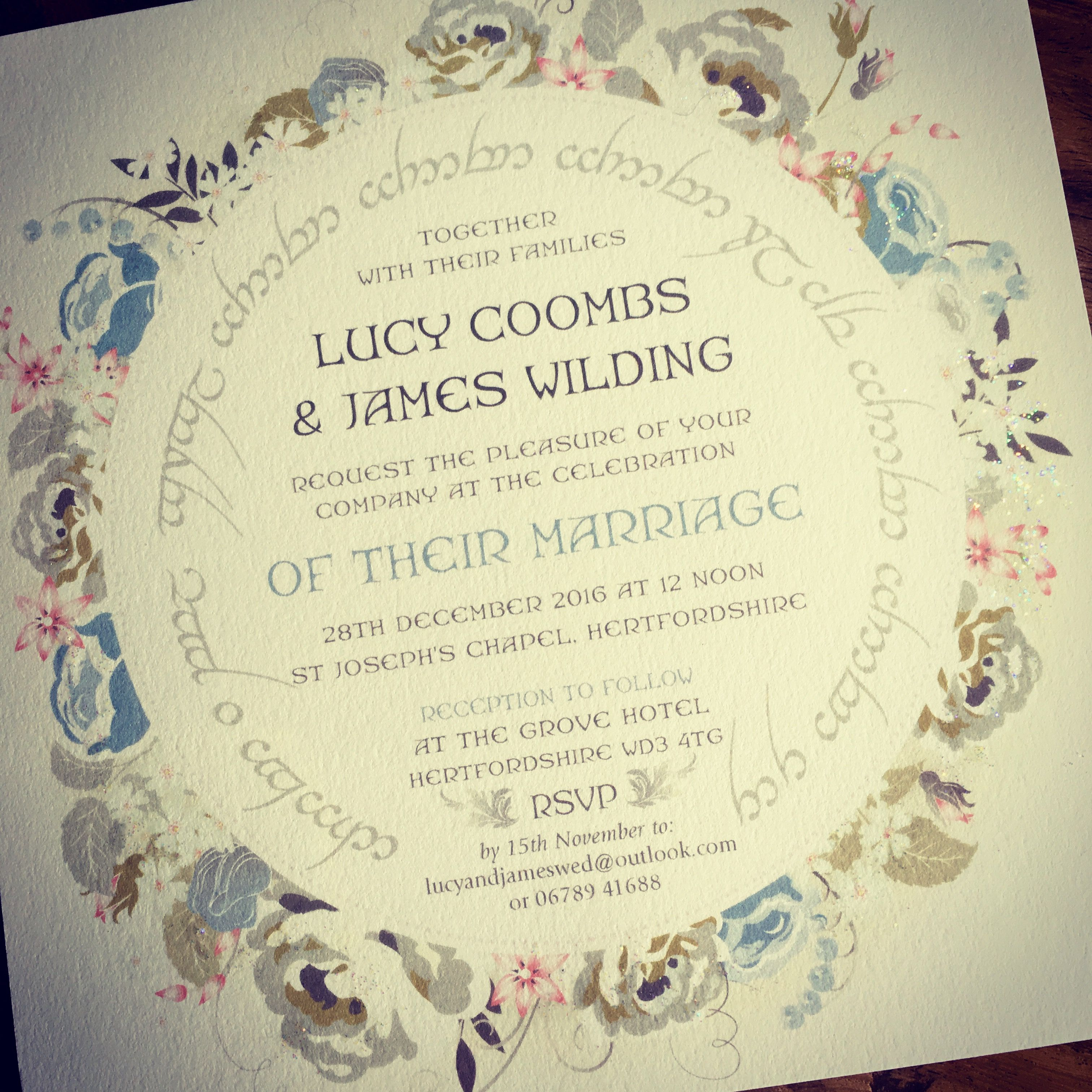 Lord of the Rings / Elvish Wedding Invitations - your choice of