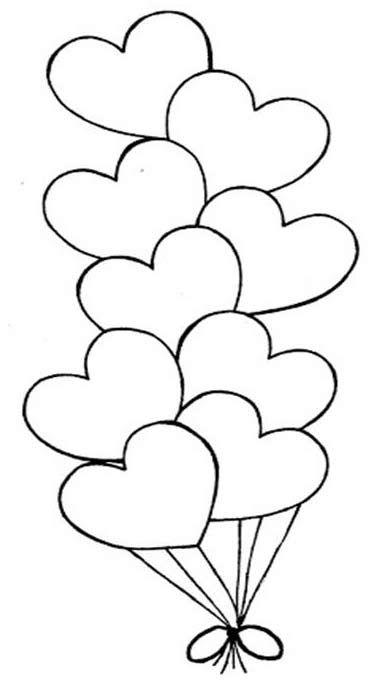 Globos en forma de Corazón - Colorear San Valentín | Stencil ...