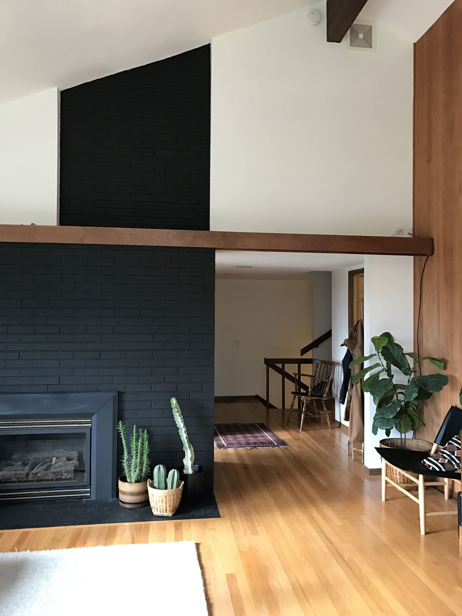 Black Painted Brick Fireplace Summer Wick Deep Onyx Black Painted Brick Fireplaces Black Brick Fireplace Brick Interior