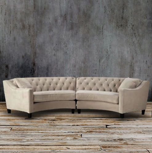 Cream Beige Button Curved Tufted Sectional Sofa Set French Country Modern Couch Tufted Sectional Sofa Sectional Sofa Sofa Styling