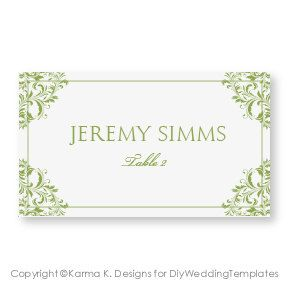 wedding place card template download instantly nadine sage green foldover microsoft
