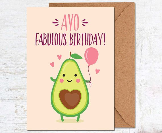 Avocado Birthday Card Vegetarian Birthday Card Birthday Card Funny
