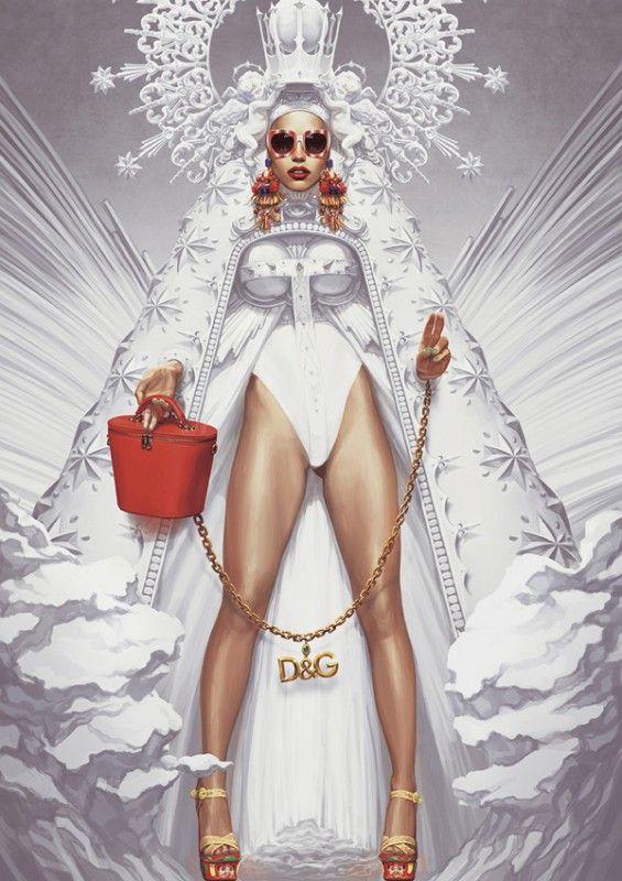 Fashion IllustrationI D&G by Ignasi Monreal I Painting Dolce & Gabbana accessories, handbag & wild glamorous cape @monstylepin