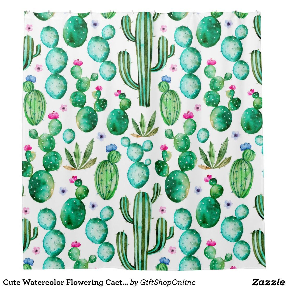 Cute Watercolor Flowering Cactus Patterned Shower Curtain Zazzle