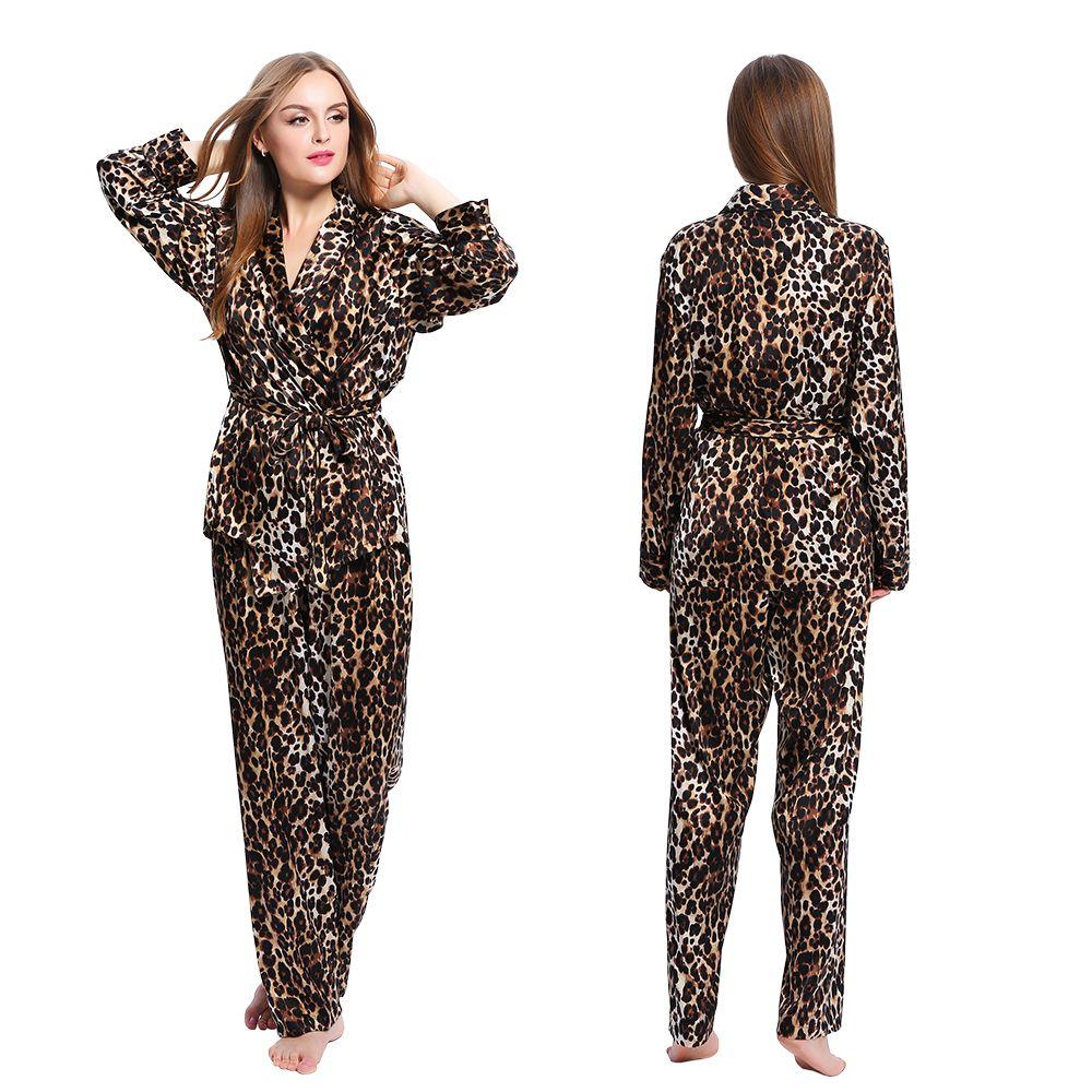 7de37a25e3 Sexy Leopard Silk  Pajamas Set For Women