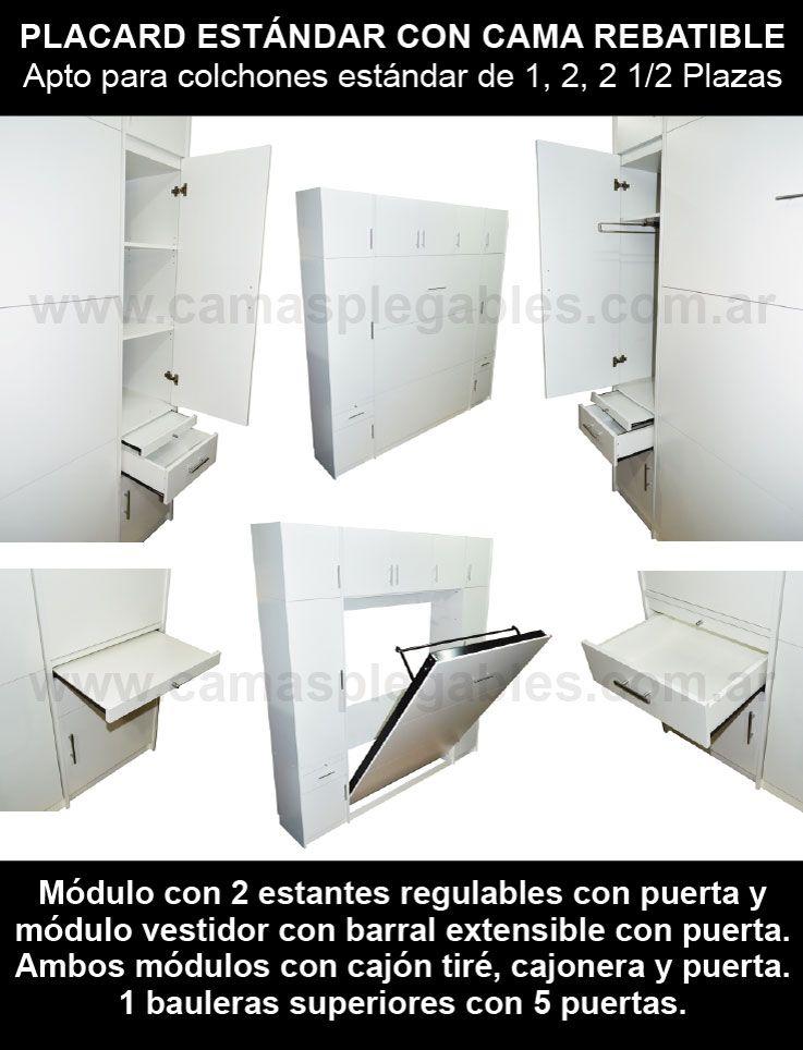 Mueble placard con cama rebatible plegable para colchon 2 plazas 003 ...