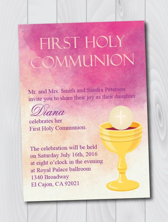 printable watercolor first holy communion invitation e card
