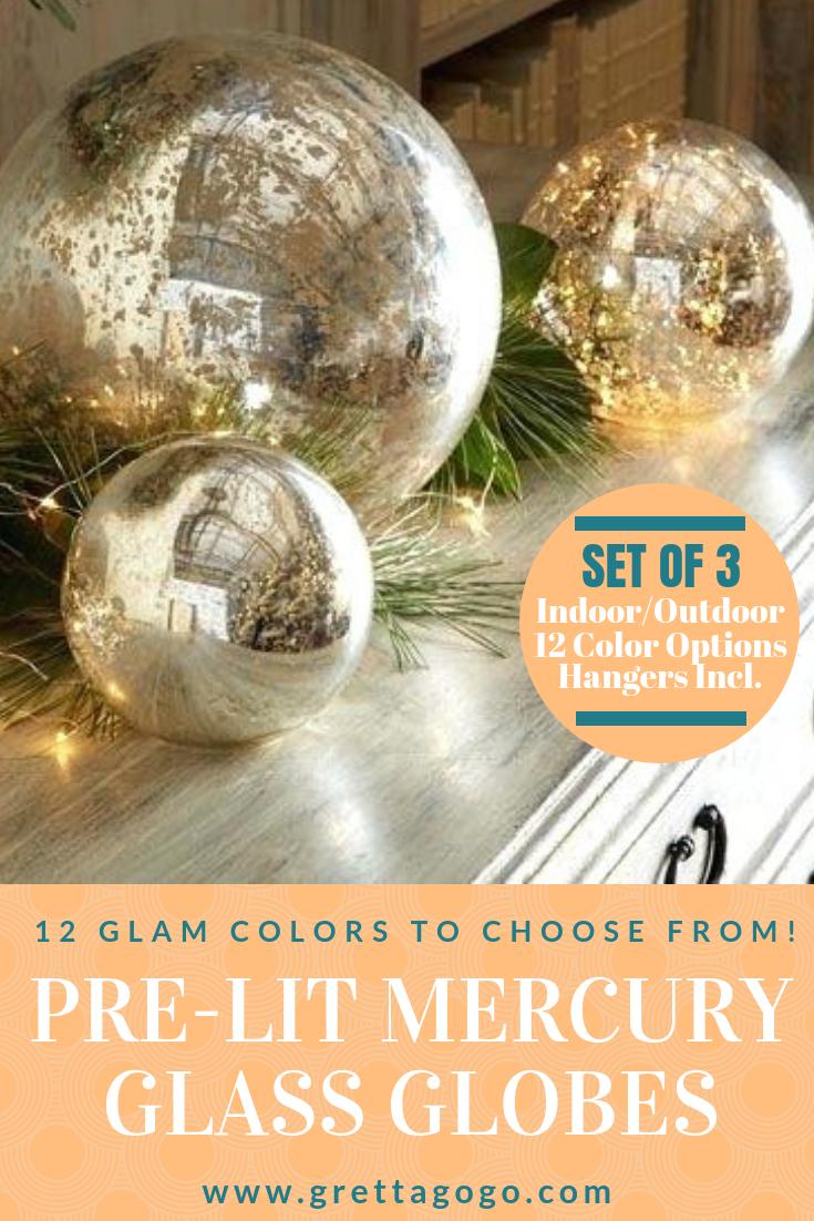Set Of 3 Led Mercury Gl Holiday Decor Glam Globe Lights Bohemian Design Style