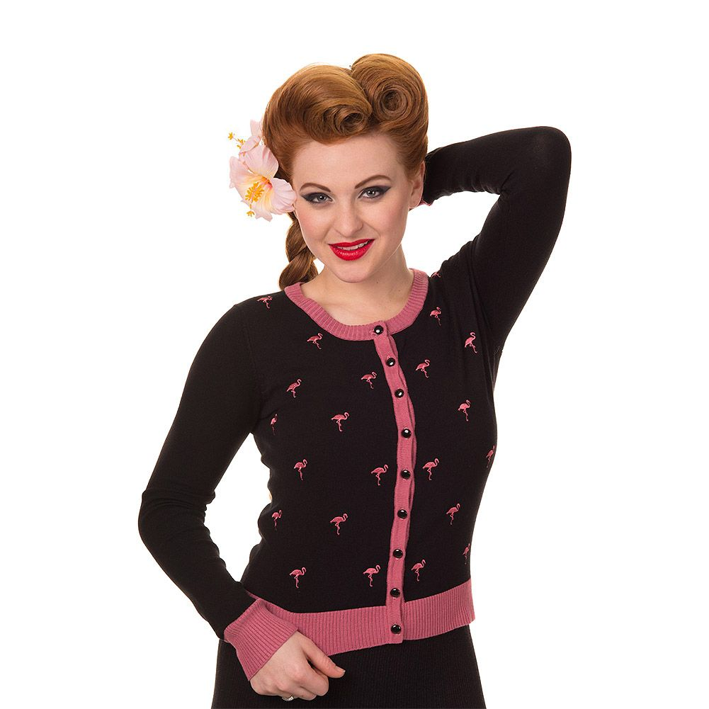 Black Flamingo Cropped Button Rockabilly Vintage Retro Cardigan Banned Apparel