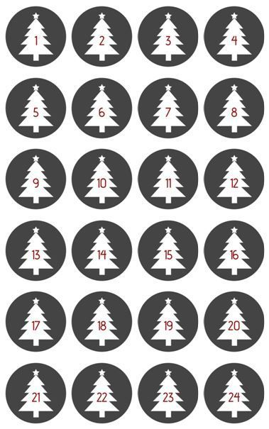 DIY kostenlose Adventskalender Zahlen als PDF zum Ausdrucken
