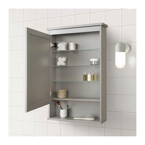 Hemnes Mirror Cabinet With 1 Door Gray 24 3 4x6 1 4x38 5 8 Ikea Mirror Cabinets Small Bathroom Bathroom Mirror Cabinet