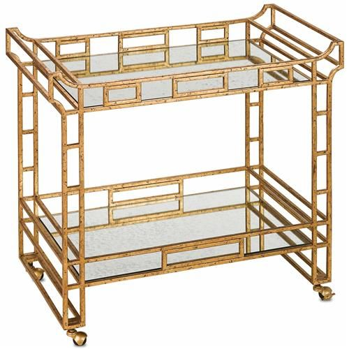 Tamara Hollywood Regency Antique Gold Mirror Bar Cart