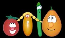 kinda funny - making Veggie Tales characthers from balloons