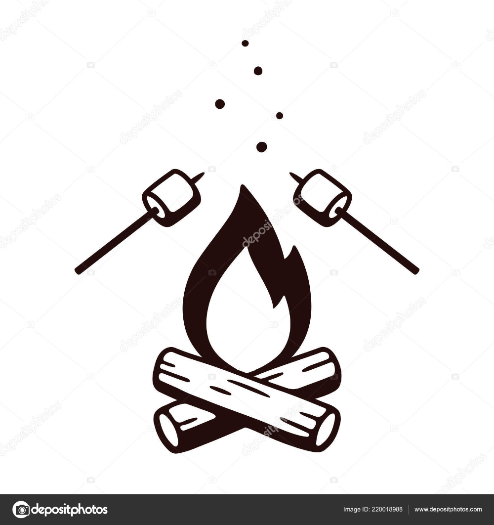 Clipart Campfire Clip Art Black And Black And White Drawing Campfire Drawing Drawings