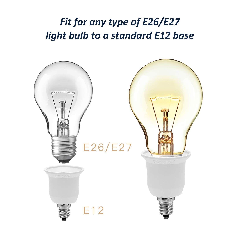 JACKYLED 15 Pack E12 to E26 E27 Adapter Chandelier Light Socket E12 to Medium Socket E26 E27 Converter Bulb Base Adapter Converter