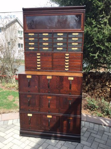 Antique S Globe Wernicke Sectional BookcaseFile Cabinet - Funky filing cabinets