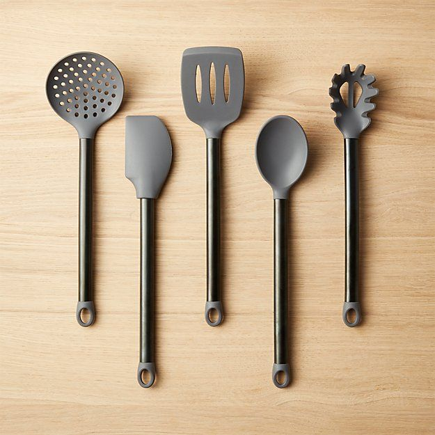Brushed Grey And Black Silicone Utensils Set Of 5
