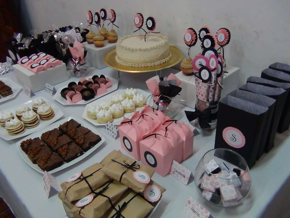 pink black birthday party ideas dulces mesas dulces On mesa de dulces para adultos