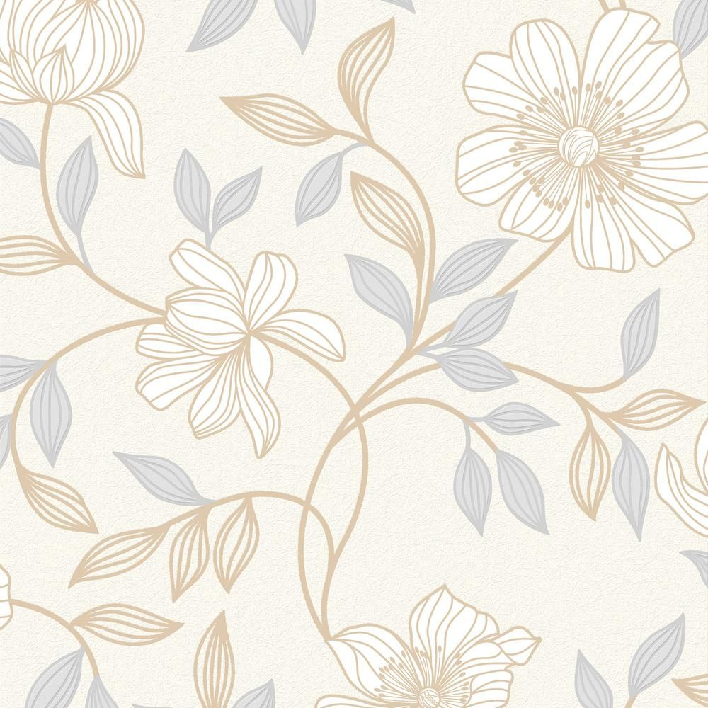 Graham Brown White Camille Wallpaper 20 805 The Home Depot Floral Wallpaper Wallpaper Heathers Wallpaper
