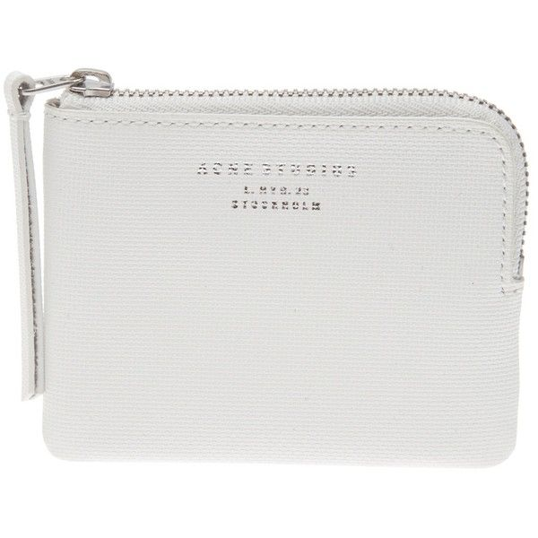 ACNE Zip pouch (145 CAD) ❤ liked on Polyvore featuring bags, handbags, clutches, fillers, accessories, white, acne studios, leather clutches, real leather handbags and genuine leather purse