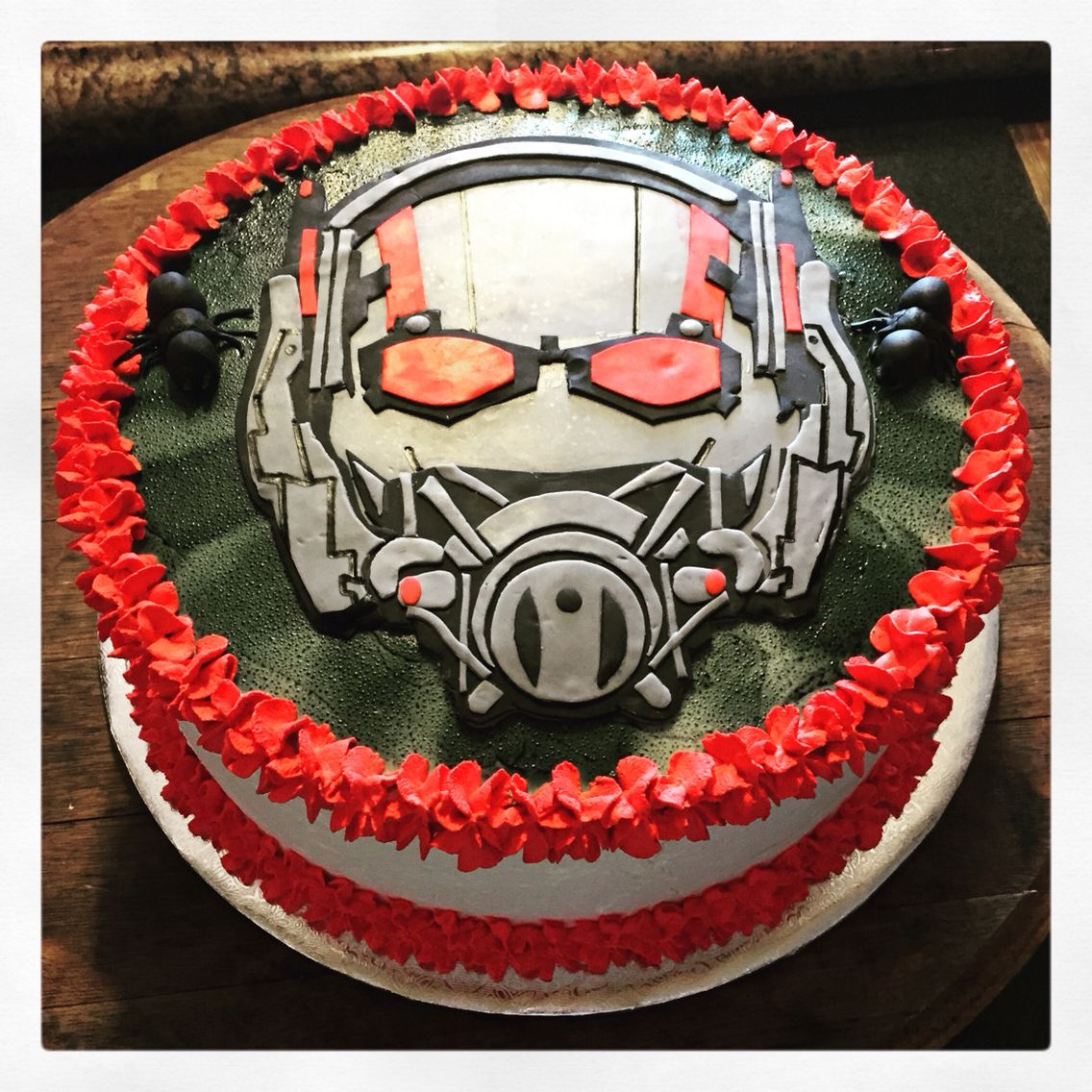 Ant Man Cake Chocolate Vanilla Marble and chocolate fudge filling