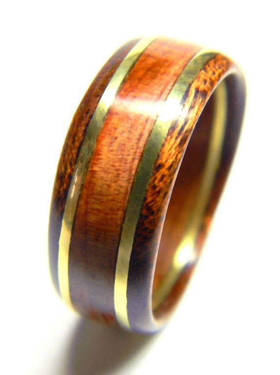 Unique Men 39 S Wood Ring Cedar And Brass Wedding Band Engagement Ring Weddings Alternat Mens Wedding Rings Unique Wooden Rings Engagement Mens Wood Rings