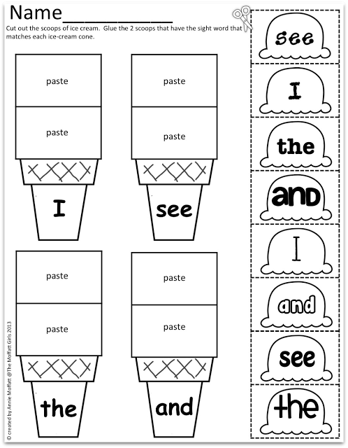 Sight Word Scoops! Uses different fonts to help read a