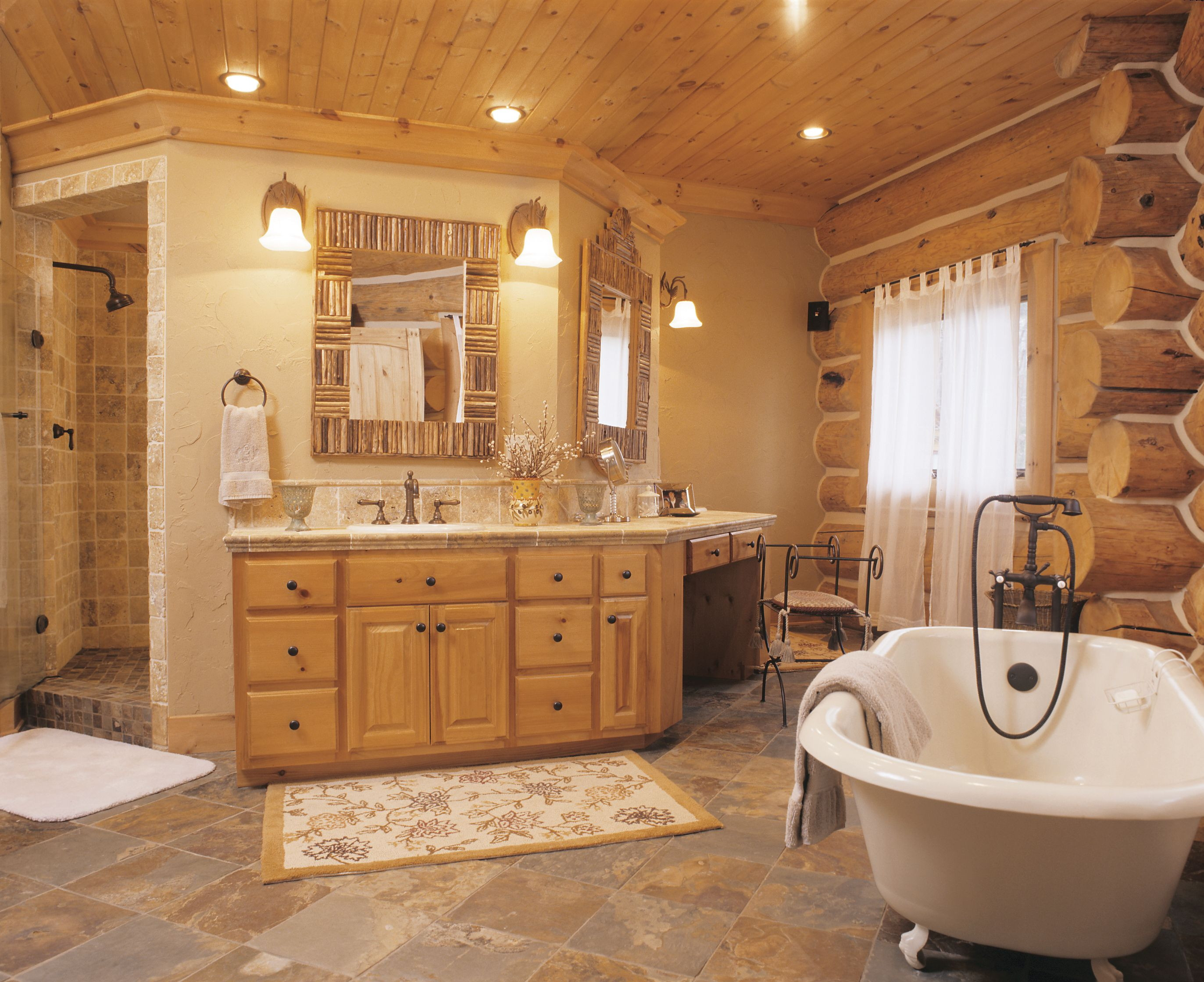 Cozy Handcrafted Log Bathroom Perfect Place To Relax And Rejuvenate Log Home Bathrooms Log Cabin Bathrooms Cabin Bathrooms