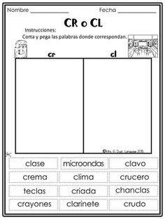 silabas trabadas hojas de trabajo spanish blends lecciones espa ol learning spanish. Black Bedroom Furniture Sets. Home Design Ideas