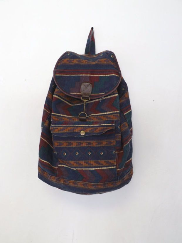 Vintage Retro 80s 90s Southwestern Print Cotton Rucksack Cloth Bag Mini  Backpack Drawstring Book Bag Pouch Boho Hipster Grunge Tribal Boho 868c2adb27a11