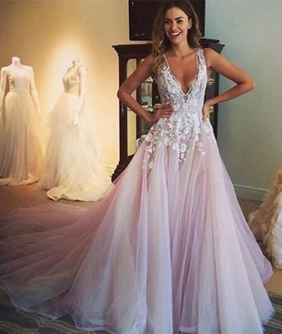 Vestidos de fiesta largos de encaje con cuello en V y una línea, vestidos de novia, vestido de fiesta – EE. UU. 8 / Color personalizado  – Boda