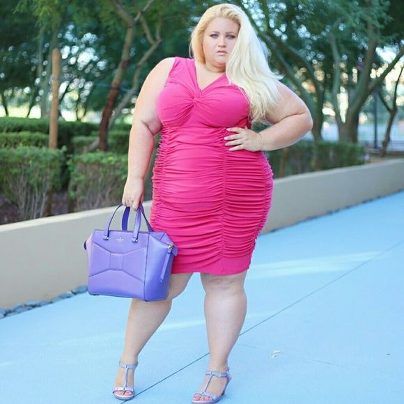 Photo of Designer plus size pink dress Ruched Fully lined Gorgeous Worn for photo shoot…