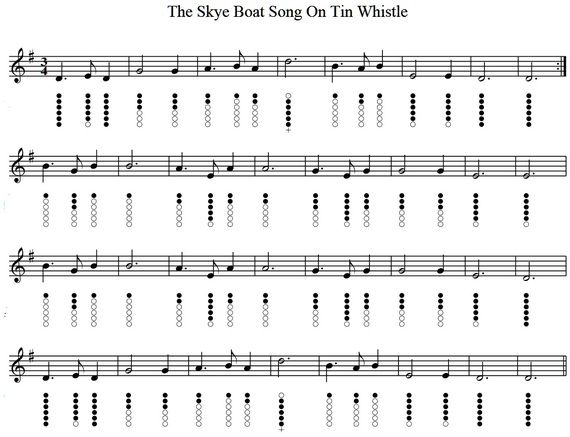 The Skye Boat Song Tin Whistle Sheet Music Musica