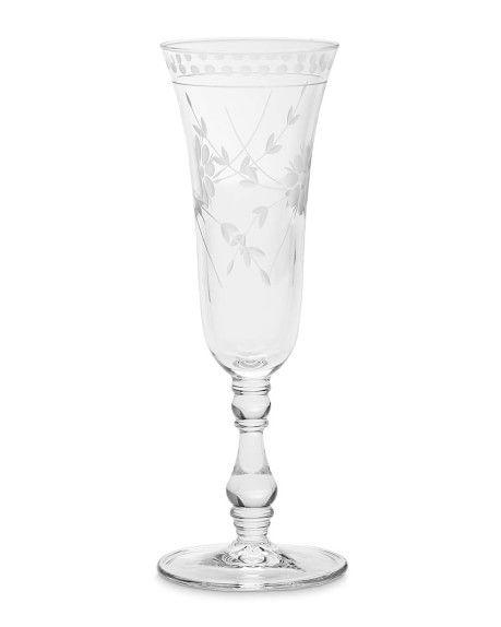 Vintage etched glass flutes