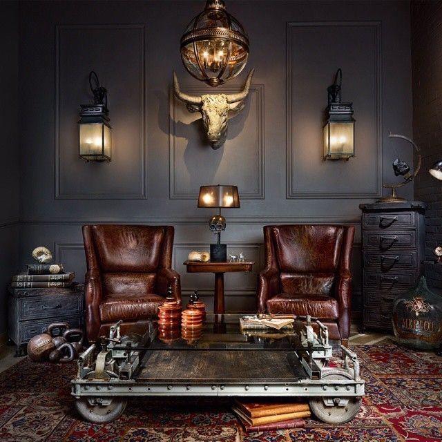For A Lounge Dark Colors Paneled Walls Sconces Statement Chandelier Dark Furniture In 2020 Cigar Room Decor Cigar Lounge Decor Cigar Lounge Man Cave