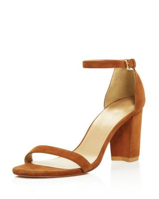 46e5691d4fb9 Stuart Weitzman Nearlynude Ankle Strap Block Heel Sandals ...
