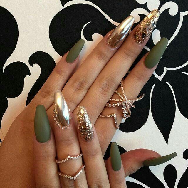 Uñas Verde Militar Nails En 2019 손톱 네일 Y 네일아트