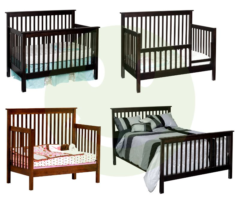 Quincy Convertible Crib Painted Black Formaldehyde Free