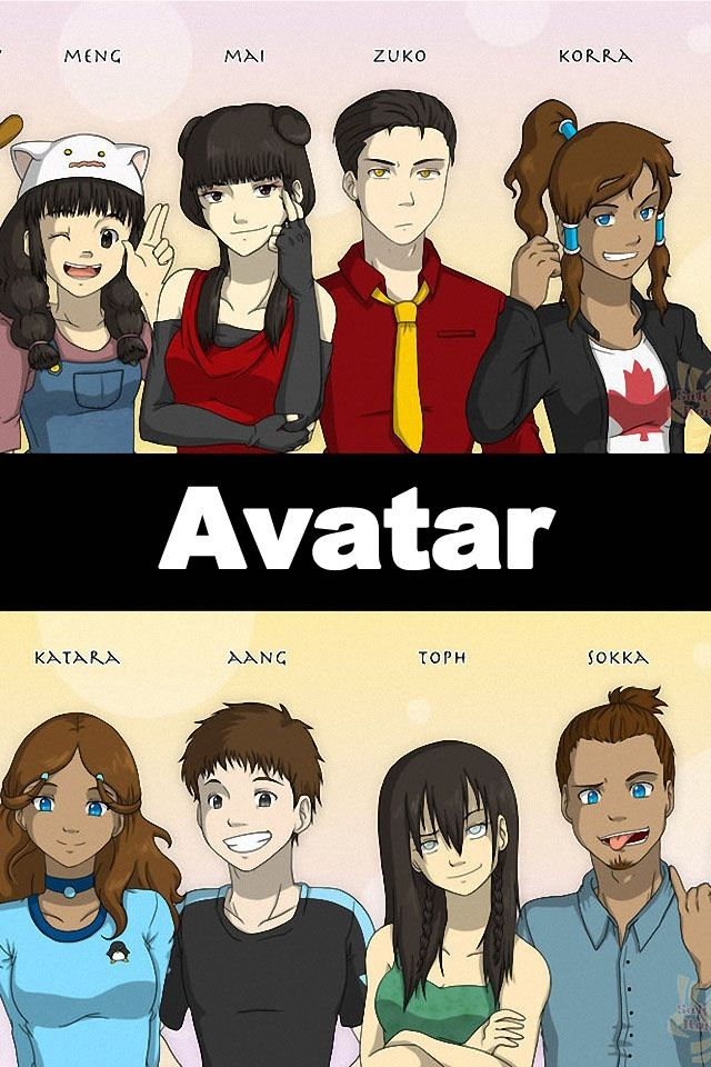 Avatar peeps as high school peeps. I love that Korra is Canadian and Katara's shirt has a Penguin on it. Toph is the best.