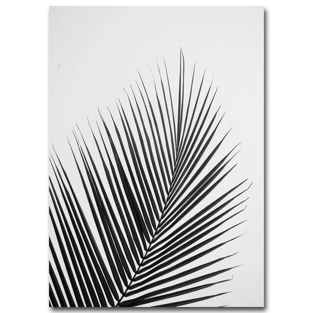 Tropical Palm Leaves Simple Minimalist Black White Wall Art Posters White Wall Art Black And White Wall Art Minimalist Painting