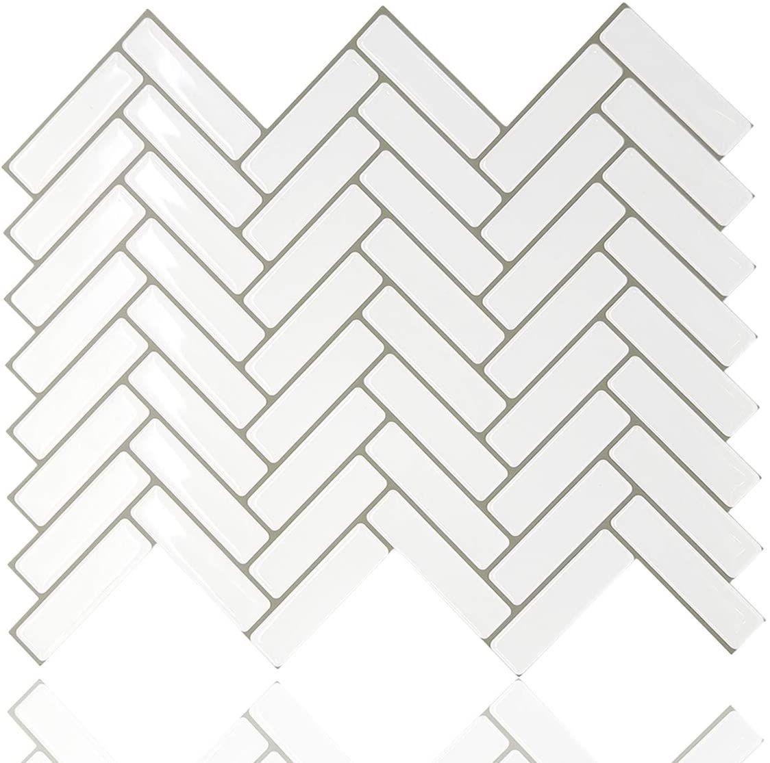 Stickgoo Peel And Stick Tile Backsplash White Herringbone Adhesive Backsplash Tiles Stick On Tiles F Stick On Tiles Stick Tile Backsplash Adhesive Backsplash