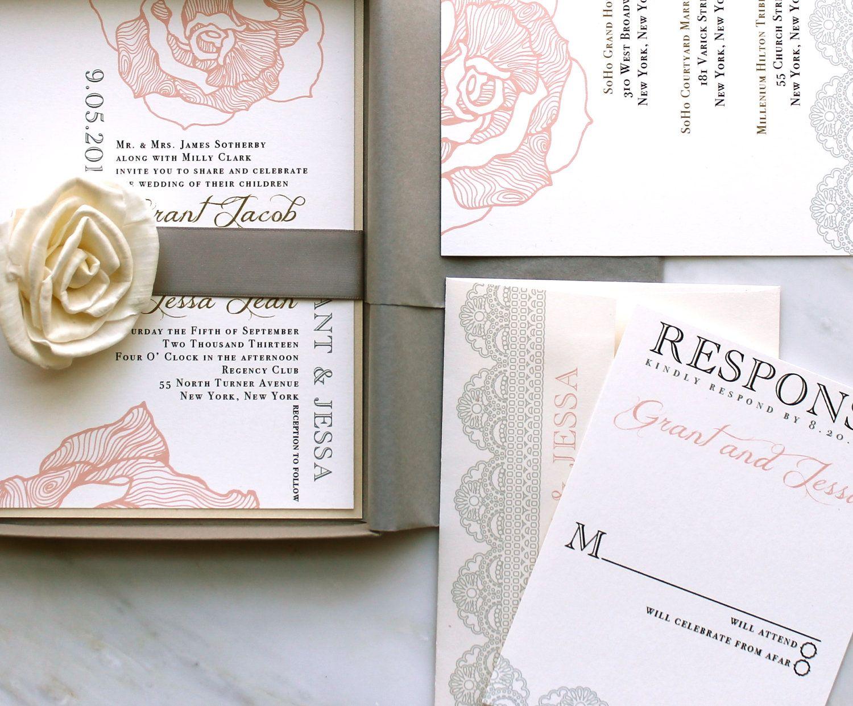 Elegant Boxed Wedding Invitations, Romantic Luxury Wedding ...