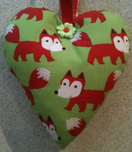 Fox Fabric Heart Shaped Lavender Bag - Handmade