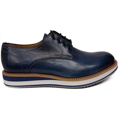 De Y Zapato Liso Piel Azul Blucher En Blanco Cuña Piso 8471 Con vq8wdg8